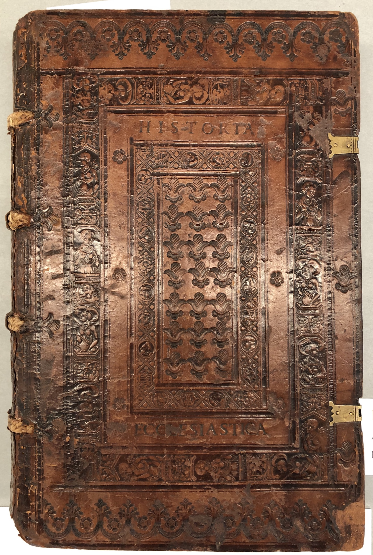 Leather tooled book cover, ca 15th century