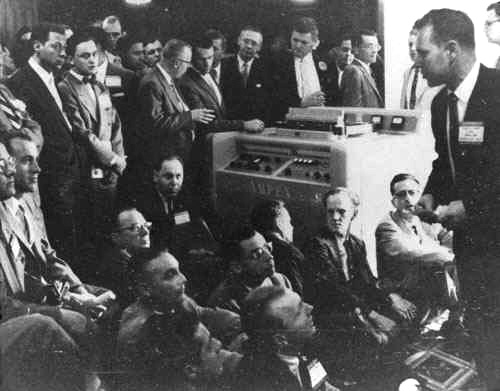 The Ampex video recorder is unveiled at the NARTB show in Chicago, April 14, 1956.