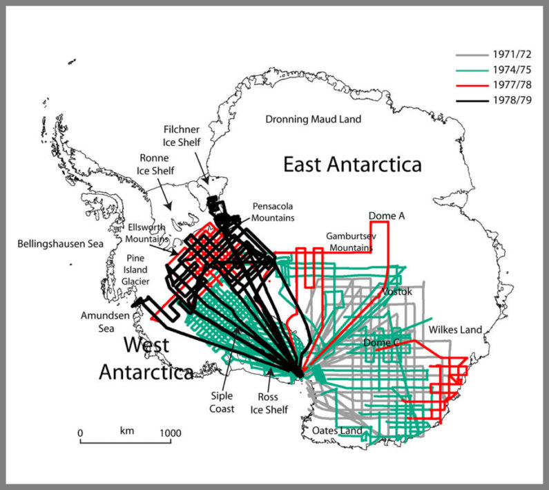 Flight maps of Antarctic radar surveys conducted in the late 1960s and 1970s by an international consortium of scientists. (Image credit: Courtesy Dustin Schroeder)