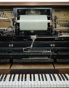 Roll mechanism of a Welte-Mignon reproducing piano.