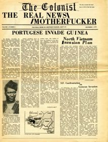 """The front page of the Colonist publication, reads """"The real news motherfucker"""""""
