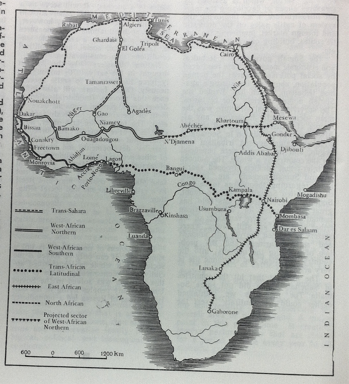 map, Asia & Africa Today 1977