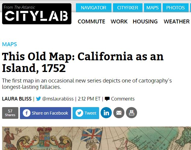 A snipped of a The Atlantic article in December 12, 2015 feature a Stanford University Libraries Map of California as an Island