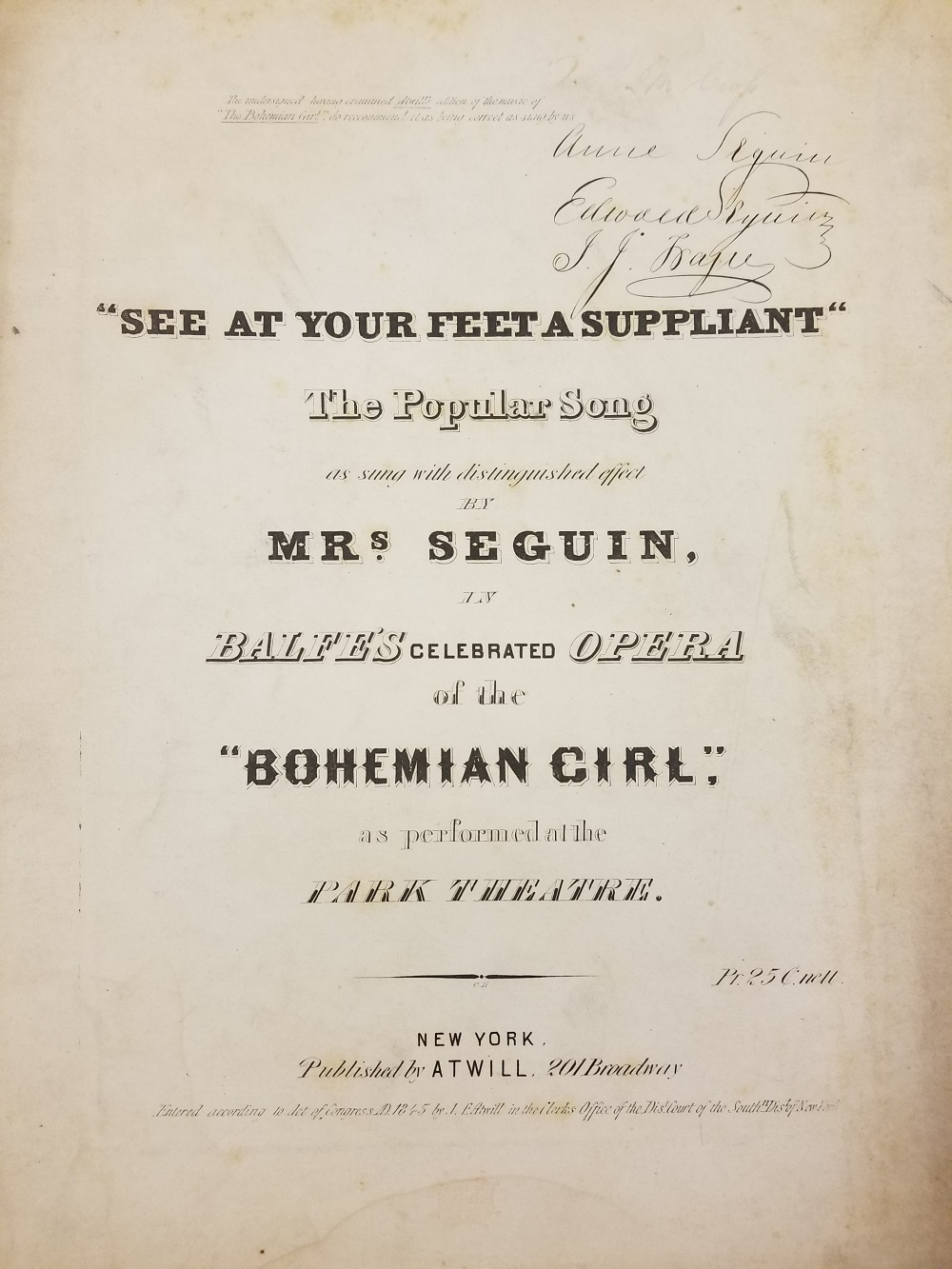Oldest known publication within the ARS Sheet Music Collection.