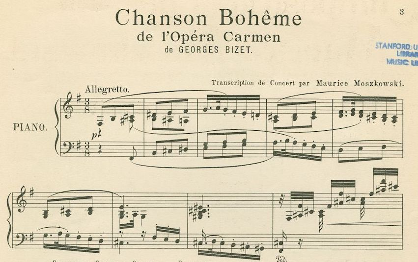 First page of sheet music for Carmen transcription