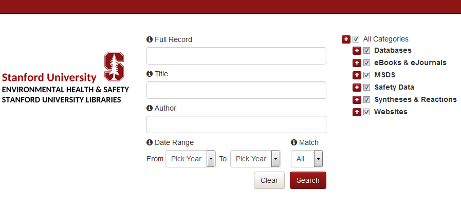 Stanford Chemistry Safety Portal search tool