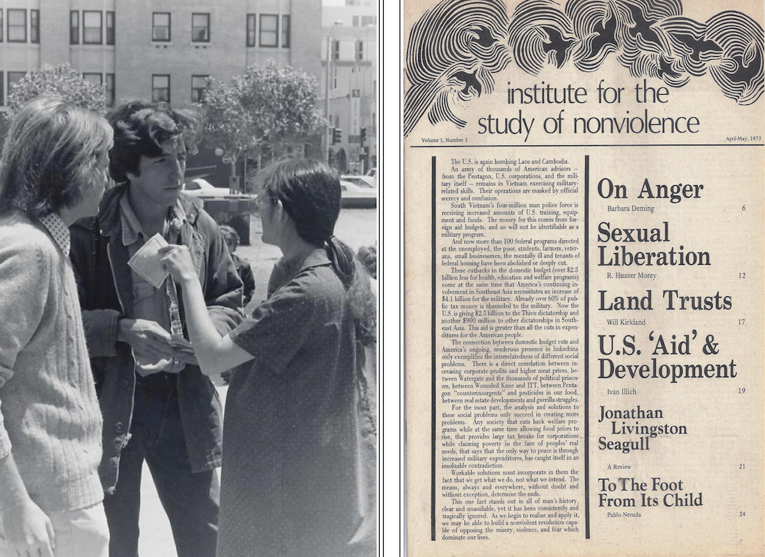 Bob Cooney participating in 1973 demonstration, U.S. Federal Building, San Francisco; Journal of the Institute for the Study of Non-Violence, March-April, 1973