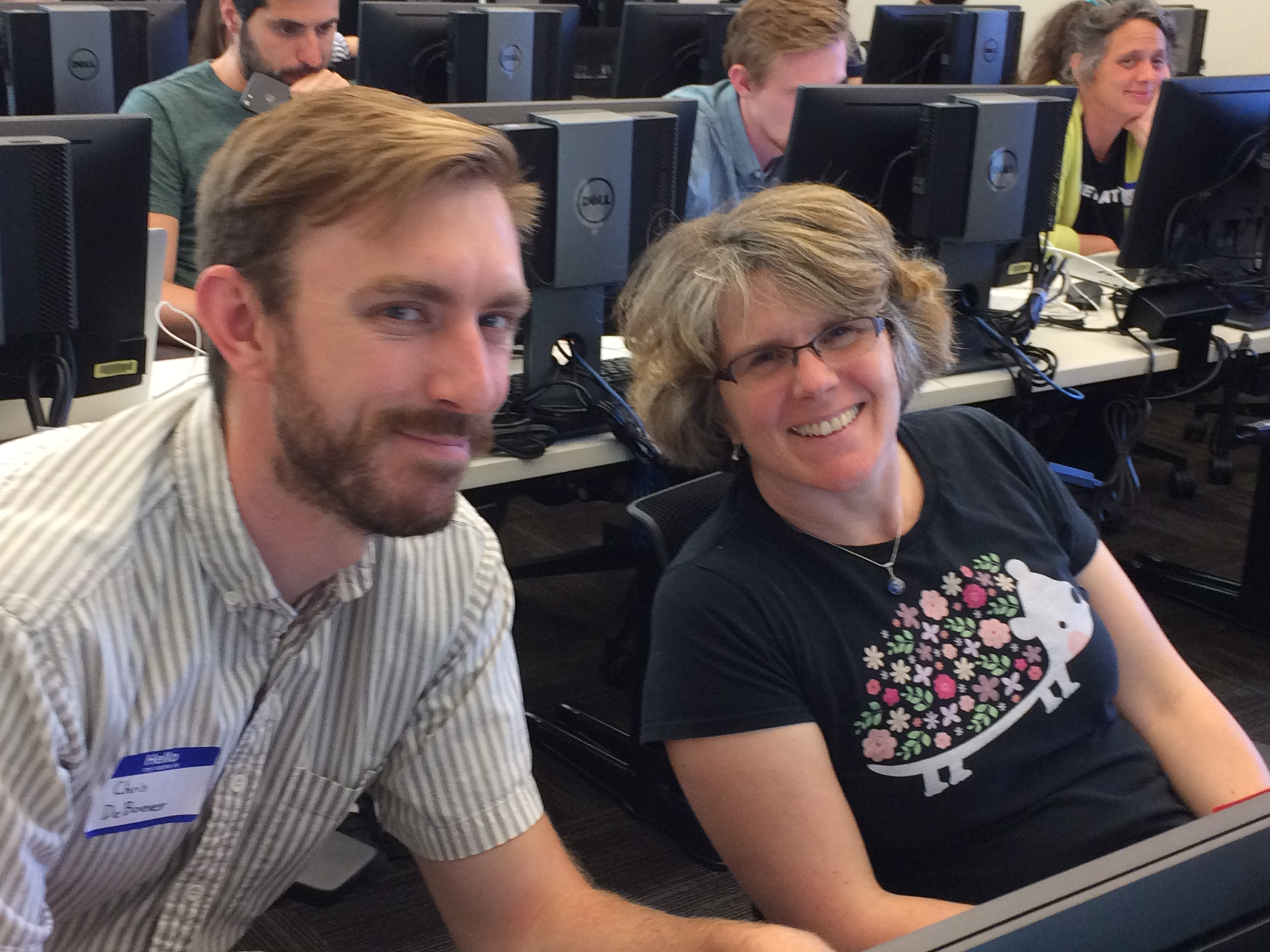 Chris DeBoever and Mary-Ellen Petrich at Carpentries Instructor Training