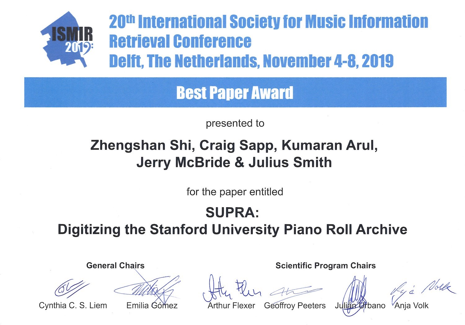 Best Paper Award at the 20th International Society for Music Information Retrieval Conference