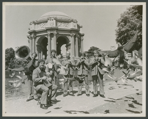 Turk Murphy Jazz Band publicity photograph, with birds, at the Palace of Fine Arts: Bill Carroll, Pete Clute, John Gill, Bon Helm, Leon Oakley and Turk Murphy