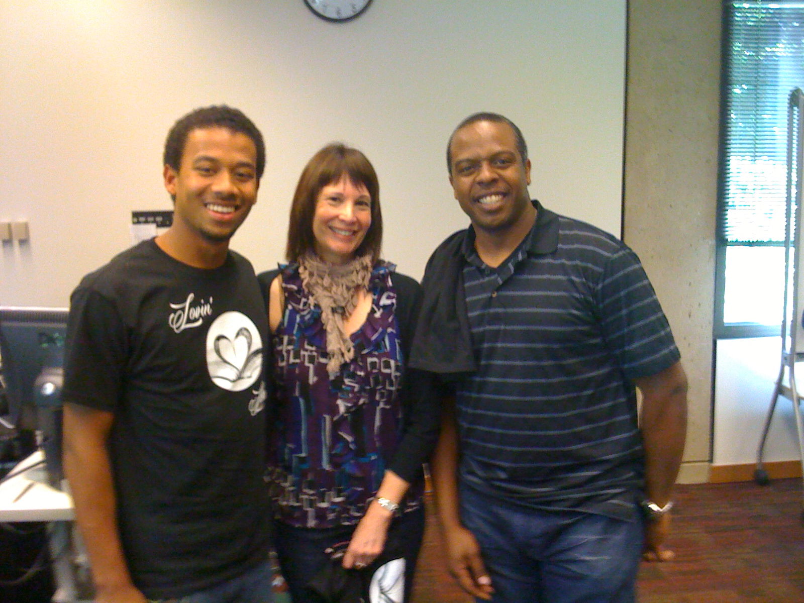 Library intern Joseph Thornton with supervisors Judy Marsh and Ronnie Fields