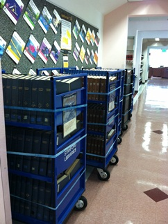 Journals on booktrucks for transfer to SAL3