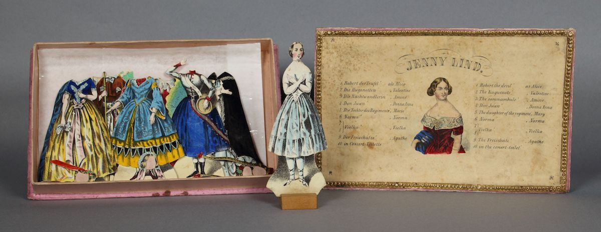 Jenny Lind paper doll set and box, ca. 1846-48