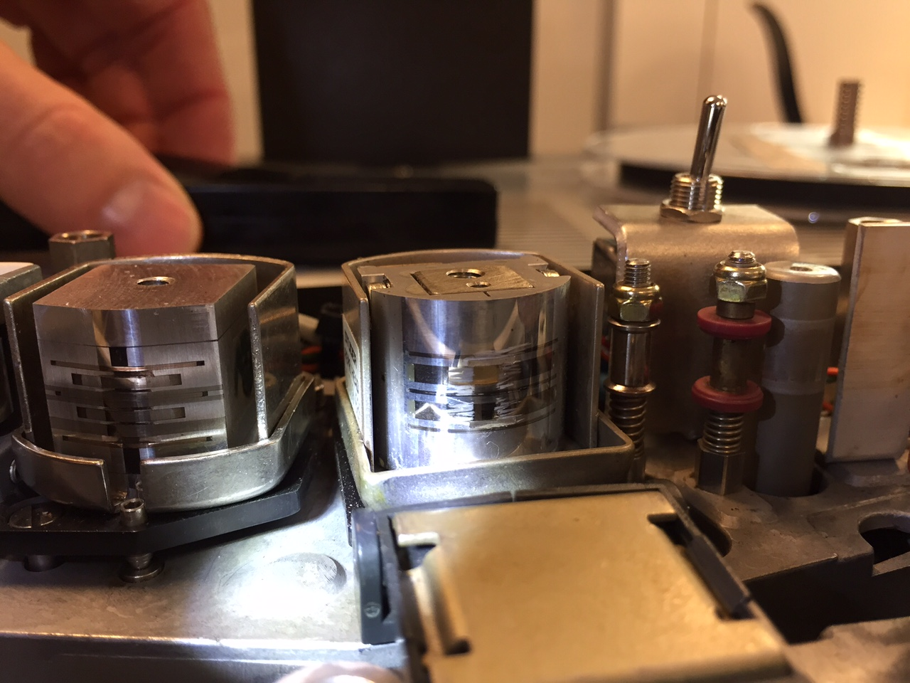 Close up of Studer 807 open reel tape machine heads