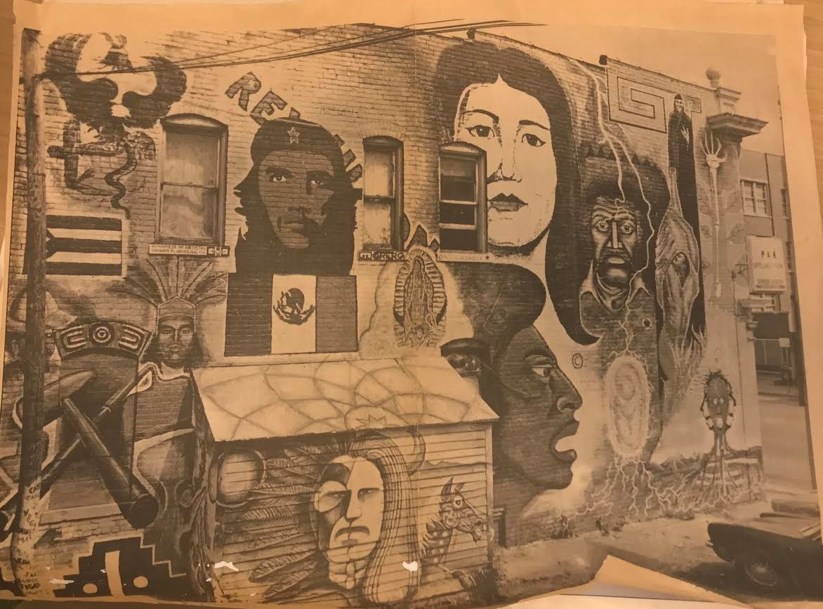 (Image of mural from a newspaper clipping, Chicano Art and Artistry Series)