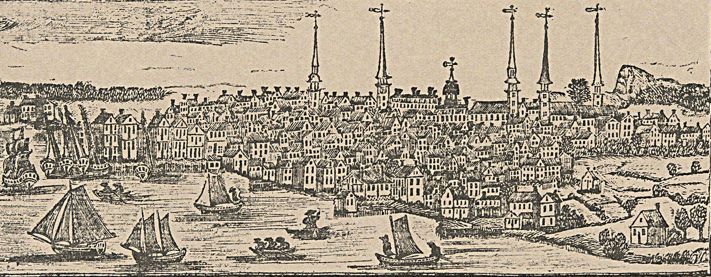 View of New Haven in 1786, published as a reproduction of the original woodcut by Daniel Bowen