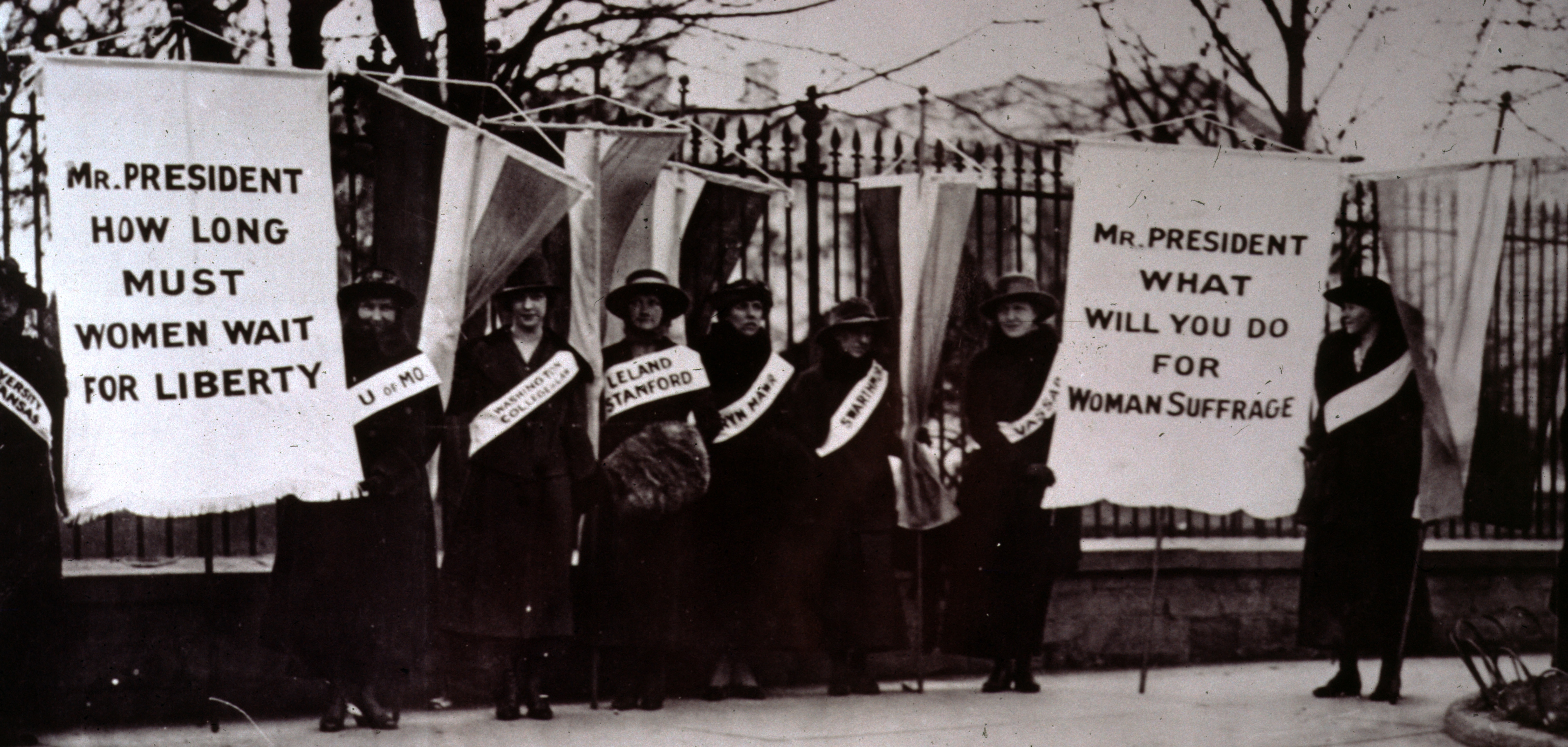 The First Women's suffrage Picket Line-College Day in the picket line