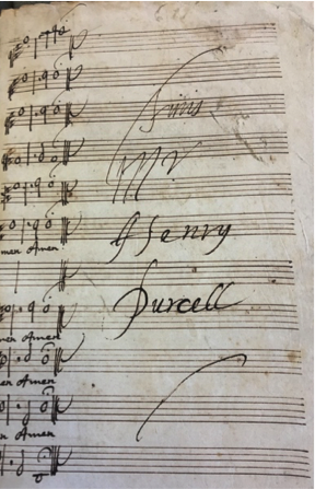 "The autograph from the 17th century manuscript of Purcell's Te Deum & Jubilate for Voices and Instruments Made for St. Cecilia's Day 1694. ""Fini, Mr. Henry Purcell."""