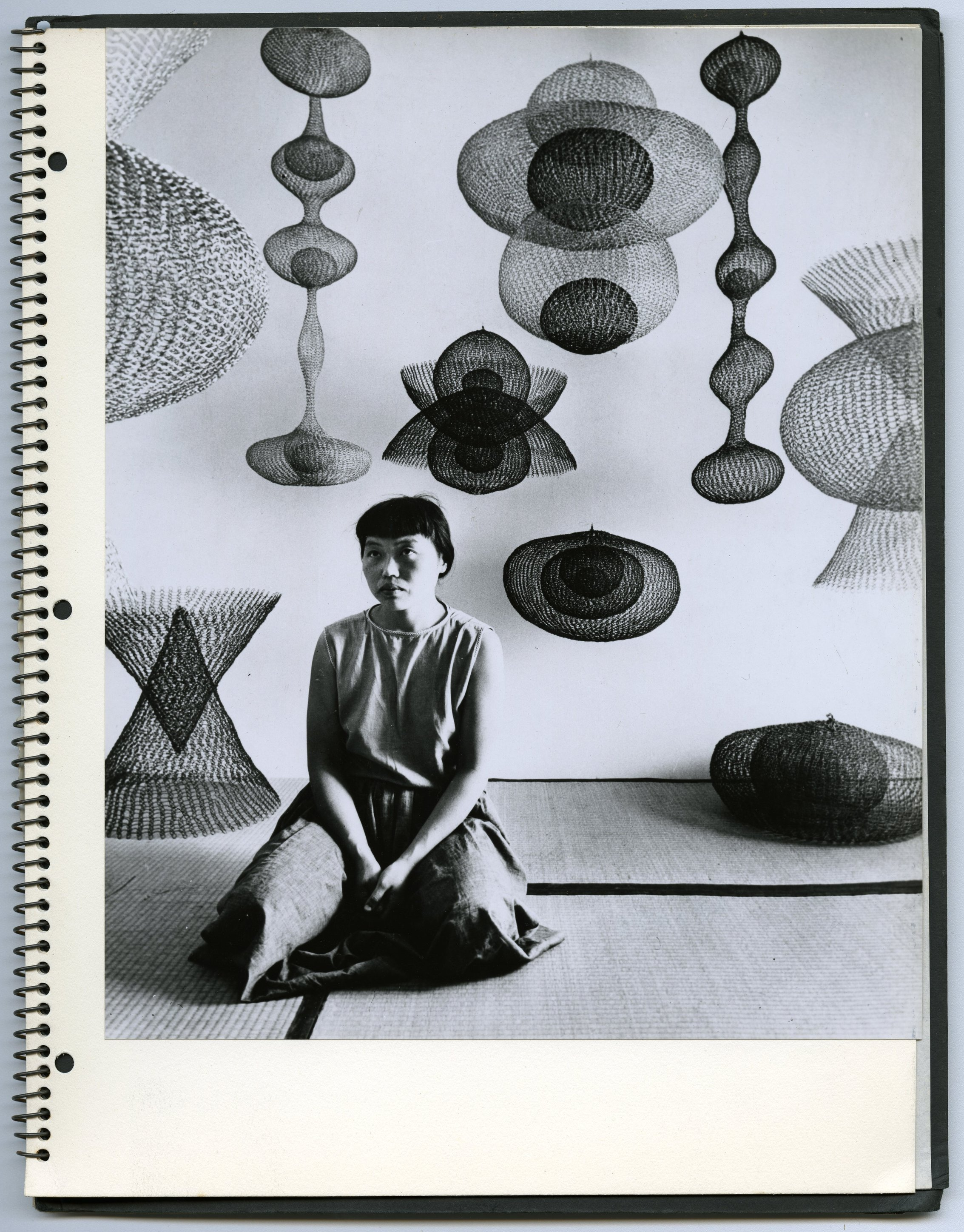Portrait of Ruth Asawa and wire sculptures by Nat Farbman, from 1955 Guggenheim fellowship application