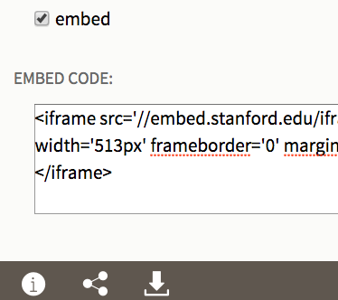 Screenshot of embed code from SUL's latest embed viewer