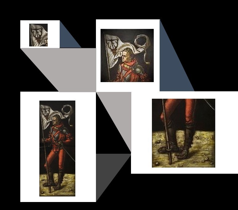 Image of St. Hubertus as a stained glass panel, divided into sections