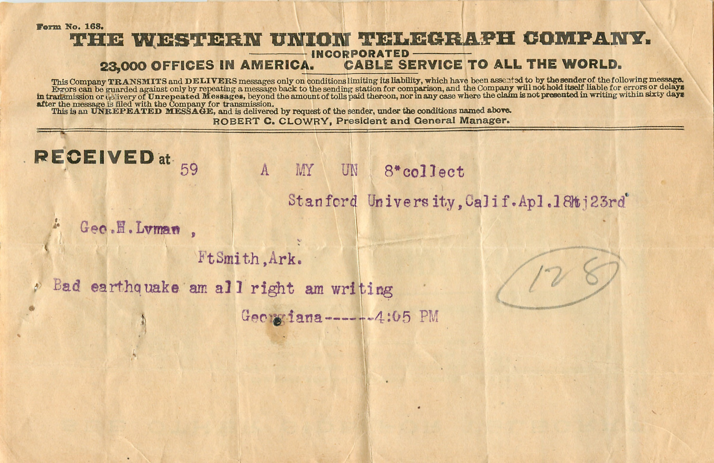 Telegram offering firsthand account of the effect of the 1906 SF Earthquake and Fire on the Stanford campus (detail).