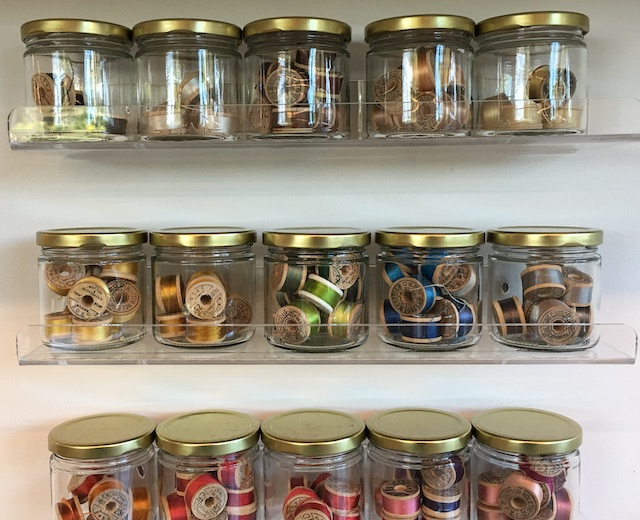 Jars of thread used in Conservation Services