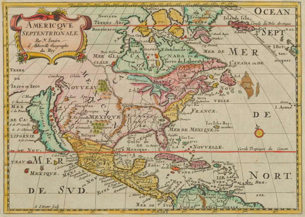 Detail of 'Americque Septentrionale' by Nicolas Sanson (Utrecht, ca. 1682). Classic representation of California as an island, with some extra fantasy islands added to the narrows separating it from the mainland.