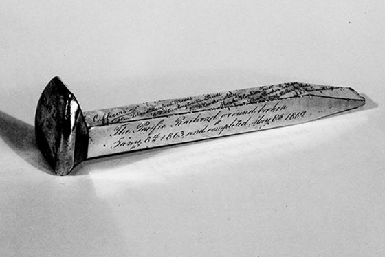 The ceremonial gold spike that connected the Central Pacific and Union Pacific railroads to create the First Transcontinental Railroad on May 10, 1869. (Stanford News Service)