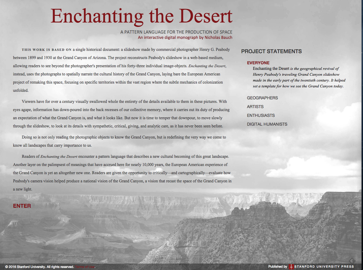 Enchanting the Desert by Nicholas Bauch, published by Stanford University Press 2016