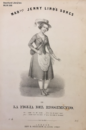 Jenny Lind sheet music, depicting her as the Daughter of the Regiment, MLM 268