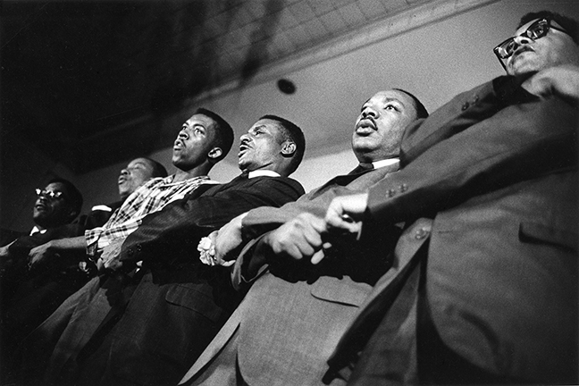 King, Martin Luther, Jr., 1929-1968, Shuttlesworth, Fred L., 1922-2011, and Lawson, James M., 1928- / courtesy Stanford Libraries