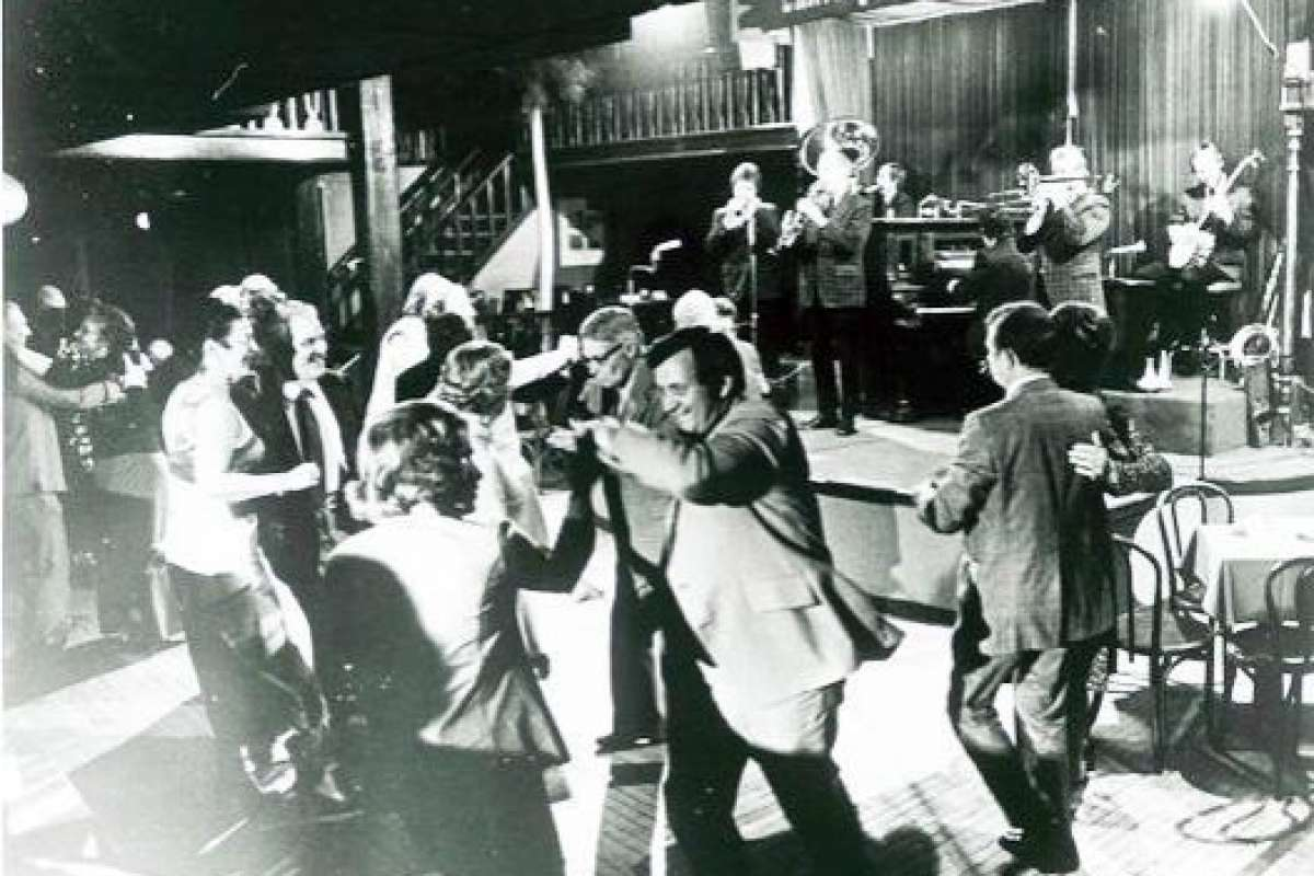 The dance floor is full of patrons dancing to the sounds of the Turk Murphy's Jazz Band at Earthquake McGoon''s at 630 Clay St. in San Francisco, circa 1973.Photo: Stanford University Libraries