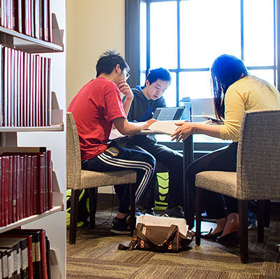 Students working in Science Library