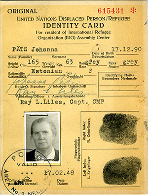 United Nations Displaced Person/Refugee Identity Card of Johanna Päts, Germany, 1948. Voldemar and Johanna Päts collection, Stanford Libraries