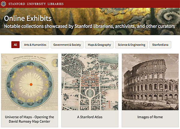 Screenshot of Online Exhibits