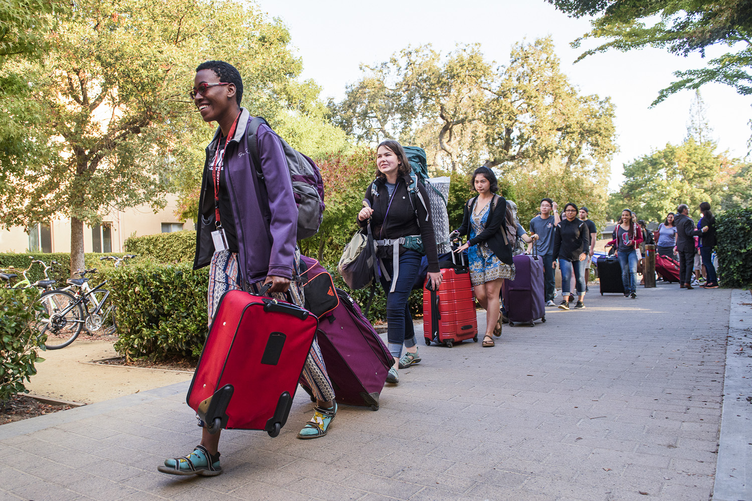 On move-in day in 2016, students in line at FroSoCo make their way to the dorm's welcome table. This year's New Student Orientation begins with move-in on Sept. 20. (Image credit: L.A. Cicero)