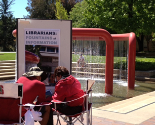 Reference Librarian Phyllis at the Red Fountain.