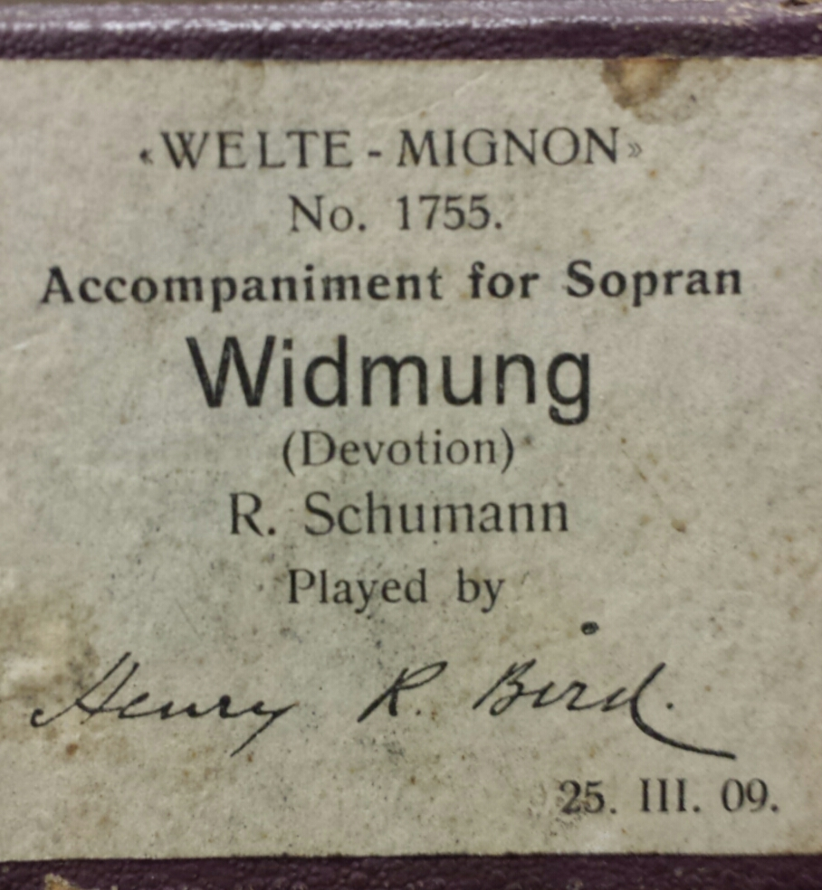 Recording date on a Welte-Mignon roll label