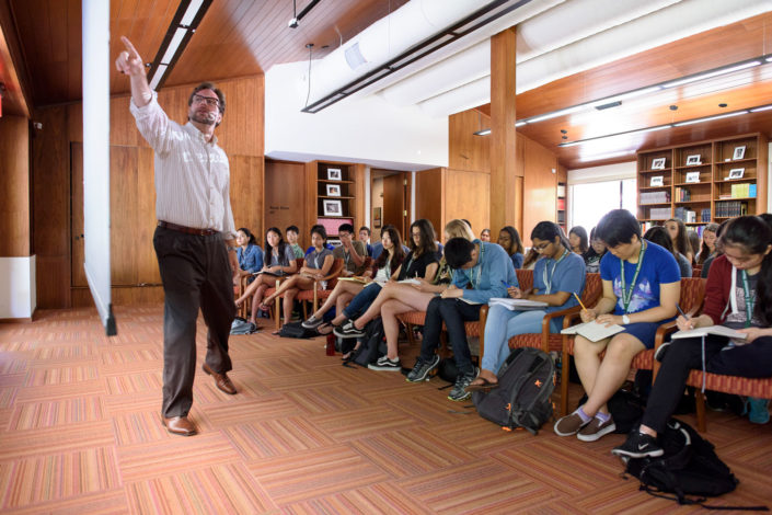 Christopher Krebs, an associate professor of classics, talks about ancient Rome's revolutions during a new class at the Stanford Humanities Institute. (Image credit: L.A. Cicero)