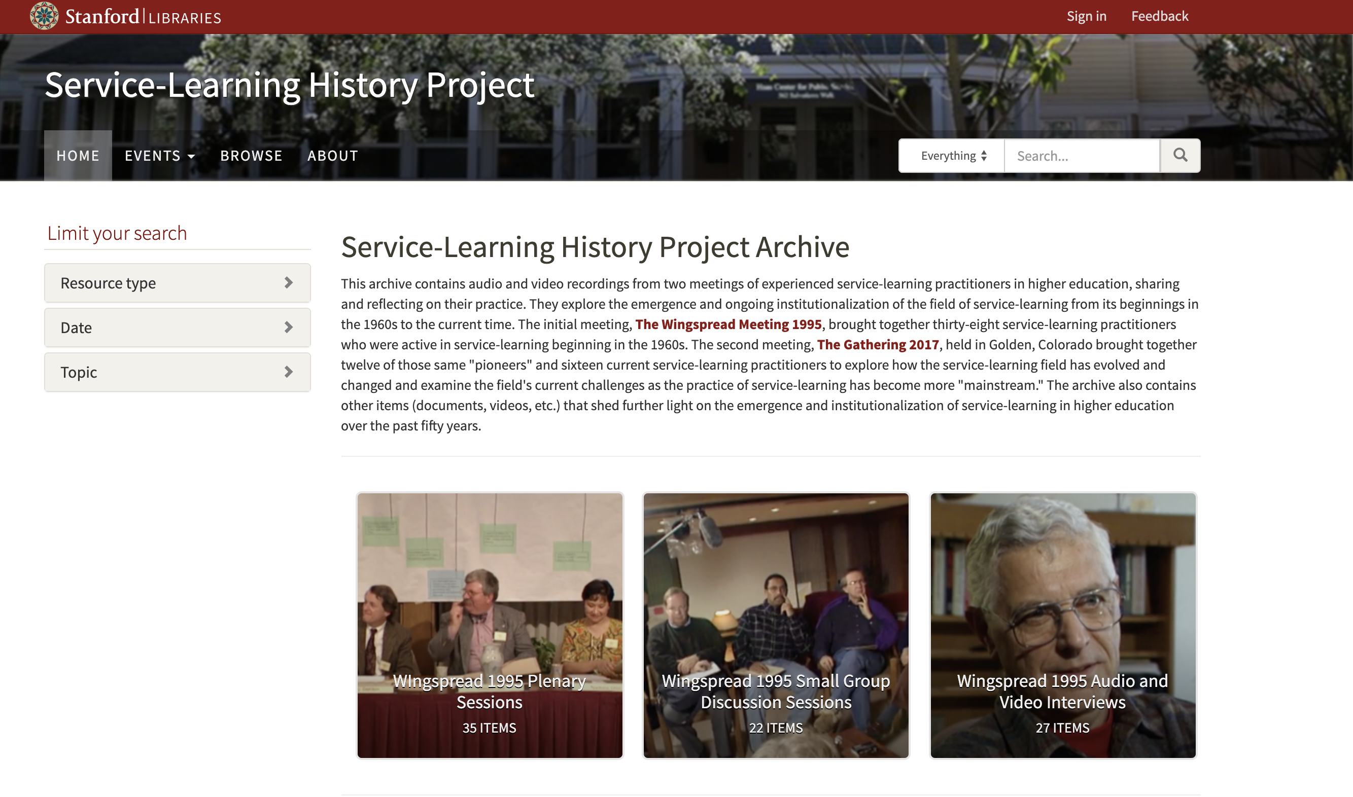 Service Learning exhibit homepage