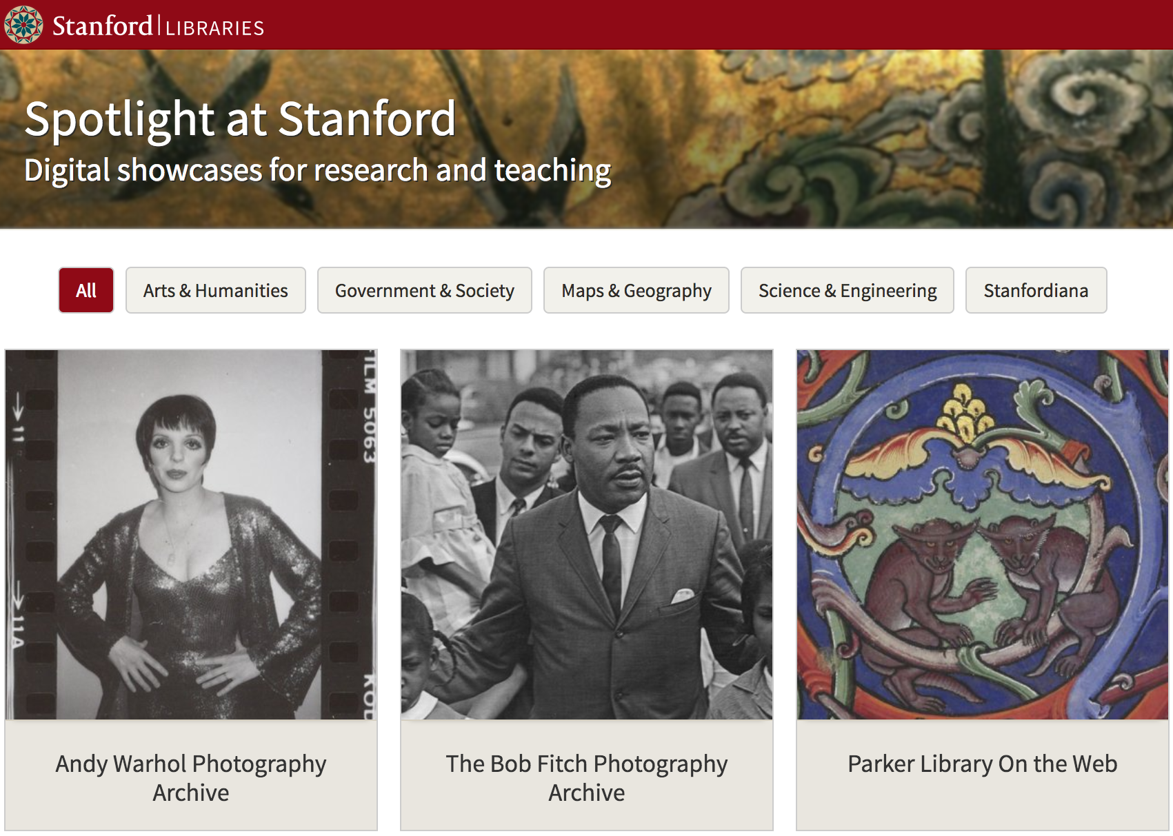 Screenshot of Spotlight at Stanford website