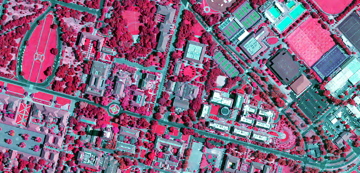 False-color Infrared satellite image of Stanford University