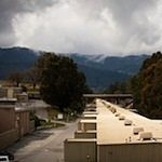 A view looking west down SLAC's two-mile-long linear accelerator, 2/29/2012.