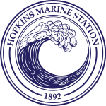 A circular logo with a blue wave inside and the words Hopkins Marine Station around the perimeter.