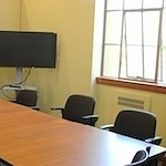 One of the two group study rooms in Cubberley Librar