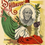 Cover of a Mexican print depicting Independent Miguel Hidalgo and flag