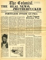 "The front page of the Colonist publication, reads ""The real news motherfucker"""