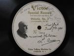 Privately produced Leopold Auer recording, signed by the artist on June 7, 1920, from the Jascha Heifetz Collection.
