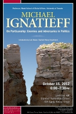 Poster for the October 2012 Stanford Presidential Lecture in the Humanities and Arts, by Michael Ignatieff.
